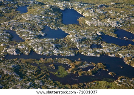 Peat bog landscape in northern Scotland, a good example of a natural carbon sink. - stock photo