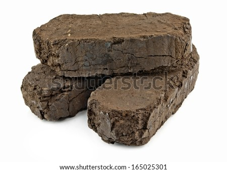 peat fuel blocks for use in an open fire  - stock photo