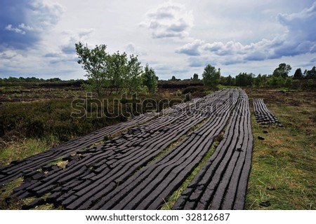 peat harvesting at Bog near Drumlish, Co.Longford, Ireland - stock photo