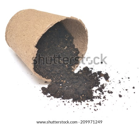 peat pot with soil isolated on white background - stock photo