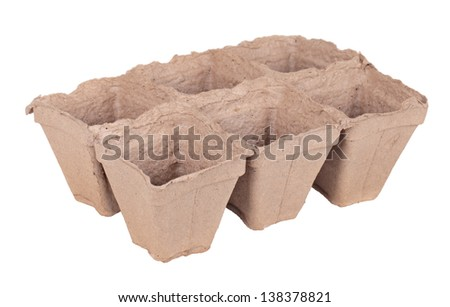Peat pots for growing seedlings, isolated on white background - stock photo