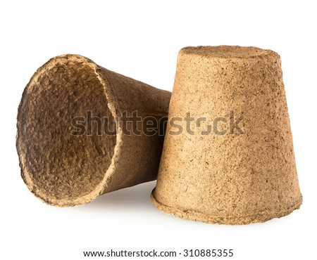 peat pots isolated on white background