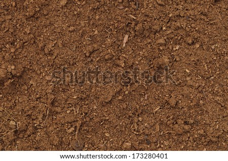 Peat Turf Macro Closeup, large detailed brown organic humus soil background pattern, horizontal - stock photo