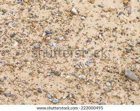 Pebble beach and sea in summer - stock photo