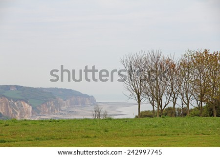 Pebble beach and shoreline at the Alabaster Coast in Dieppe, France - stock photo
