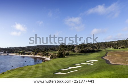 PEBBLE BEACH, CALIFORNIA - SEPTEMBER 27, 2014 : The public golf course of Pebble Beach, near Monterey, California, USA,   september 27, 2014,  in  Monterey, California, USA