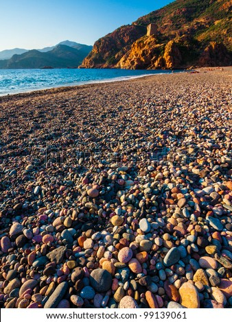 Pebble beach in Corsica - stock photo