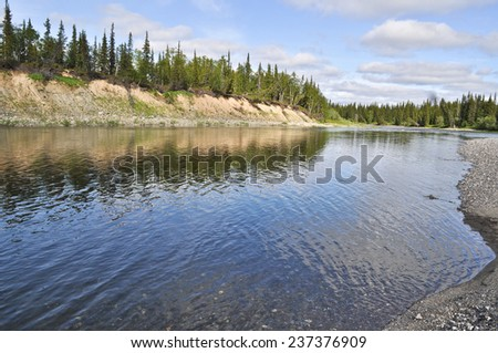 Pebble beach North of the river. The river Lemva, Republic of Komi, Polar Urals, Russia. - stock photo