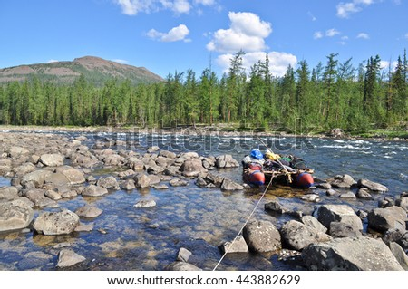 Pebble river Nakta on the Putorana plateau. Water summer landscape of the Siberia. - stock photo