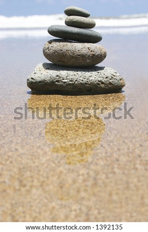 Pebble stack by the seashore