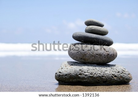 Pebble stack on the seashore