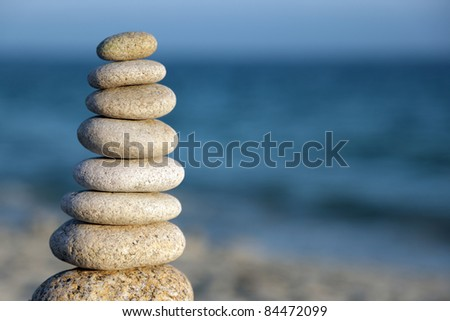 Pebble stack signifying harmony and balance - stock photo