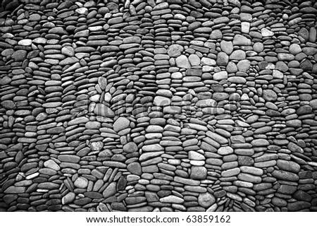 pebble stone wall - stock photo