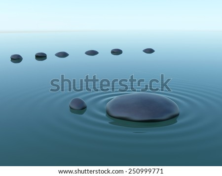 pebble stones in water with wave under sky