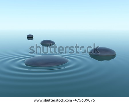 pebble stones in water with wave under sky. 3d render