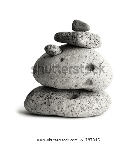 Pebble stones tower isolated, monochrome photo. Include clipping path. - stock photo