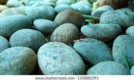 Pebble stones with leaves, close-up - stock photo