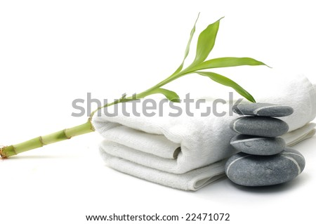 pebbles flowers and towels - body care - stock photo