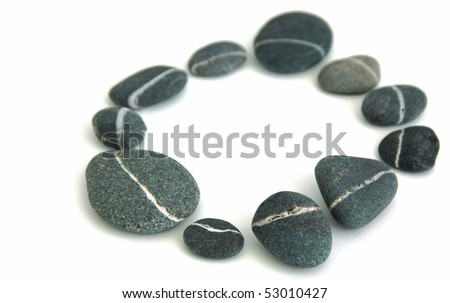 pebbles in a circle stones - stock photo