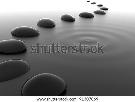 Pebbles in Water - stock photo
