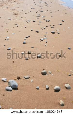 Pebbles on a beach in Sleeping Bear Dunes National Lakeshore - stock photo