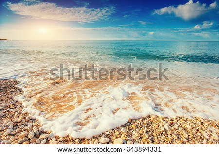 pebbles on the beach - stock photo
