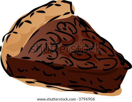 Pecan dessert Pie, hand drawn retro illustration - stock photo
