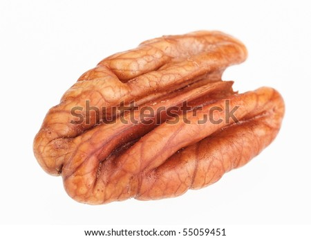 Pecan nut core isolated on white background, shot with remarkable high depth of field - stock photo