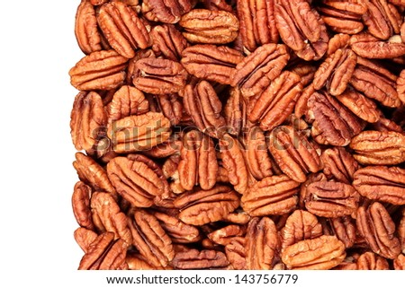 pecan nuts isolated on the left, white background - stock photo
