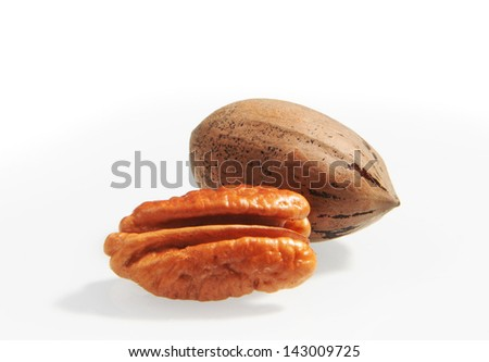 Pecan nuts isolaterd on white background, - stock photo