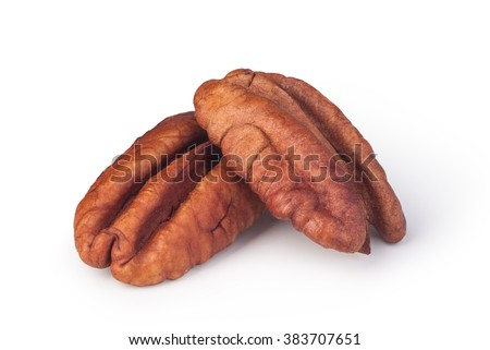 Pecan nuts on a white background - stock photo