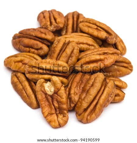 Pecan nuts on white background