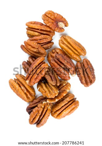 pecan nuts over white - stock photo