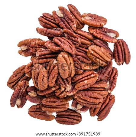 Pecan Nuts (selective focus) isolated on white background (close-up shot) - stock photo