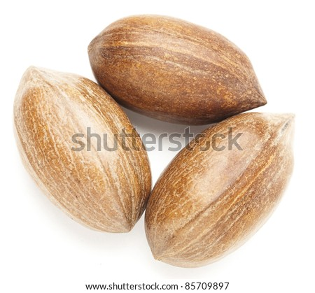 pecan nuts stack isolated on a white background - stock photo