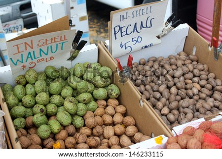 Pecans and Walnuts at the Santa Barbara Farmer's Market - stock photo