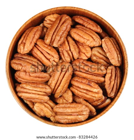 Pecans, in a bamboo cup - stock photo