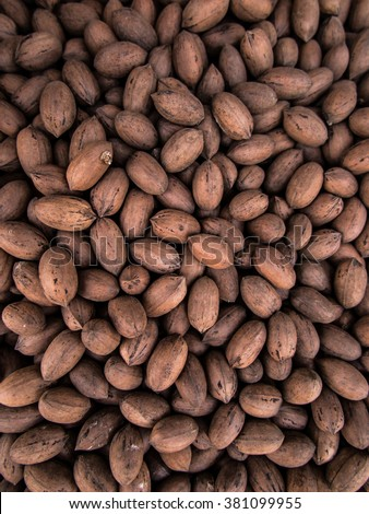 Pecans in the shell as a background