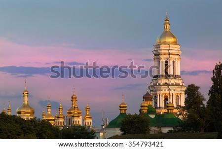 Pechersk lavra at the sunset in Kiev,Ukraine - stock photo