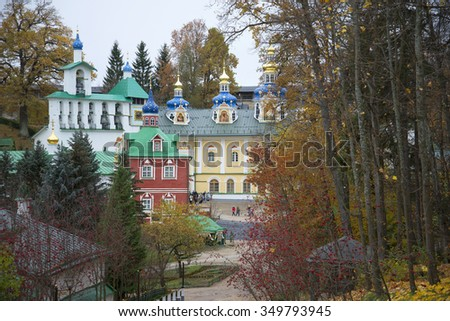 PECHORA, RUSSIA - OCTOBER 19, 2014: The Pskovo-Pecherskiy monastery in the late autumn - stock photo