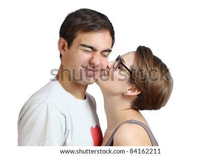 peck on the cheek - stock photo