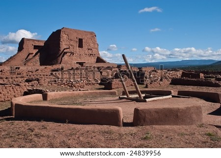 Pecos National Historical Park is a National Historical Park in the U.S. state of New Mexico. It is located about 25 miles (40 km) east of Santa Fe, New Mexico. - stock photo