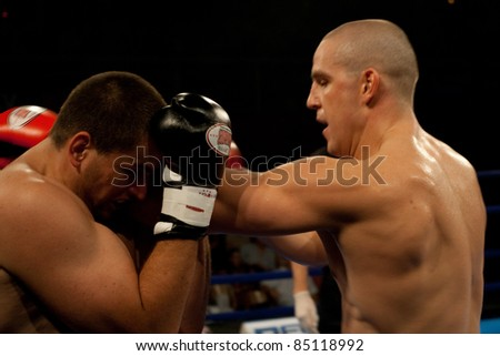 PECS, HUNGARY - JULY 17:Unknown fighters participate the RFC kick box championship July 17, 2007 in Pecs, Hungary - stock photo