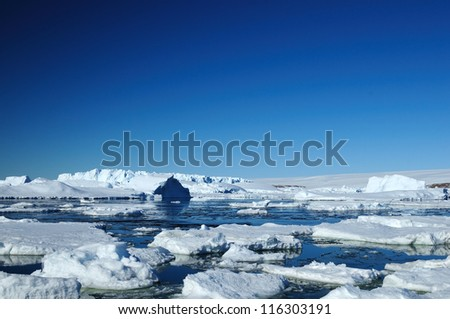 Peculiar landscape of the Antarctica. - stock photo