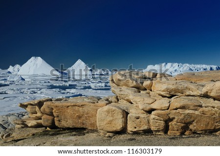 Peculiar landscape of the Antarctica. Rock Island. - stock photo