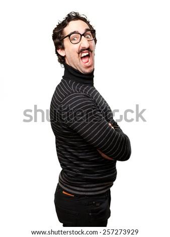 pedantic man angry pose - stock photo