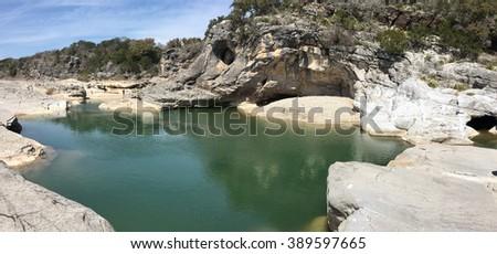 Pedernales River in Texas - stock photo