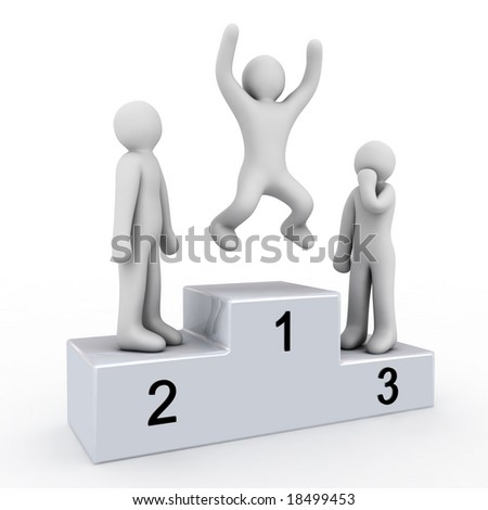 pedestal of the winner and people on white background - stock photo