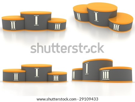 pedestal winners on a white background (four view) - stock photo