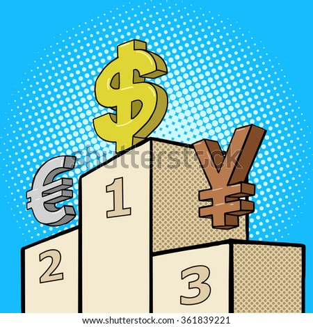 Pedestal with currency sign pop art style raster illustration. Comic book style imitation - stock photo